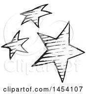 Clipart Of A Black And White Sketched Group Of Stars Royalty Free Vector Illustration by cidepix
