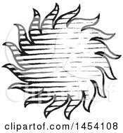 Clipart Of A Black And White Sketched Sun Royalty Free Vector Illustration by cidepix