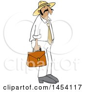 Cartoon Hispanic Sales Man Carrying A Case