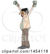 Poster, Art Print Of Cartoon Hispanic Business Man Holding Up Cash Money