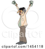 Clipart Of A Cartoon Hispanic Business Man Holding Up Cash Money Royalty Free Vector Illustration