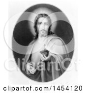 Black And White Illustration Of Christ Holding His Heart In His Hand The Sacred Heart Of Jesus by JVPD