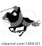 Poster, Art Print Of Black Silhouetted Horseback Rancher Cowboy Swinging A Lasso