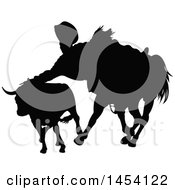 Clipart Graphic Of A Black Silhouetted Horseback Cowboy Or Picador And Bull Royalty Free Vector Illustration