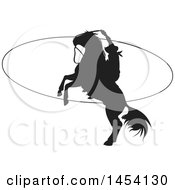 Clipart Graphic Of A Black Silhouetted Horseback Rancher Cowboy Swinging A Lasso Royalty Free Vector Illustration