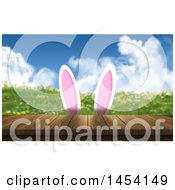 Clipart Graphic Of A 3d Wooden Deck And Spring Landscape With Cartoon Bunny Ears Royalty Free Illustration
