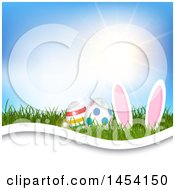 Sunny Sky Over Grass With Easter Bunny Ears And Eggs