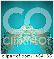 Clipart Graphic Of A Fancy Ornate Golden Floral Arch Over Text Space And Blue Stripes Royalty Free Vector Illustration