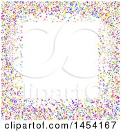 Clipart Graphic Of A Colorful Confetti Border And White Background Royalty Free Vector Illustration