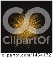 Clipart Graphic Of A Golden Glitter Explosion Burst On Black Royalty Free Vector Illustration