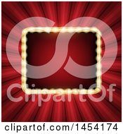 Rectangle Illuminated Frame Over Red Rays