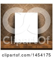 Clipart Graphic Of A 3d Blank Canvas On A Wood Table Leaning Against A Vintage Damask Wallpaper Royalty Free Illustration