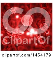 Clipart Graphic Of A 3d Red Dna Strand And Virus Cells Background Royalty Free Illustration