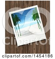 Tropical Beach Picture Over Wood