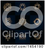 Fancy And Ornate Golden Design Elements On Dark Blue And Black Tiles