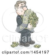 Clipart Graphic Of A Cartoon Rich White Business Man Carrying Bundles Of Cash Royalty Free Vector Illustration