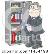 Cartoon White Business Man Selecting A Book From A Safe Vault