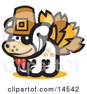 Dog Disguised As A Thanksgiving Turkey Clipart Illustration
