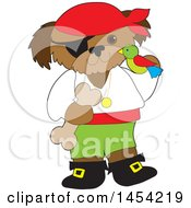 Clipart Graphic Of A Cartoon Pirate Dog Holding A Parrot And A Bone Royalty Free Vector Illustration