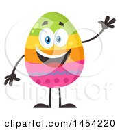 Clipart Graphic Of A Cartoon Colorful Easter Egg Mascot Character Waving Royalty Free Vector Illustration