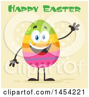Clipart Graphic of a Cartoon Colorful Easter Egg Mascot Character Waving Under Text - Royalty Free Vector Illustration by Hit Toon