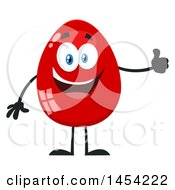 Clipart Graphic Of A Cartoon Red Easter Egg Mascot Character Giving A Thumb Up Royalty Free Vector Illustration