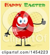 Cartoon Red Easter Egg Mascot Character Giving A Thumb Up Under Text