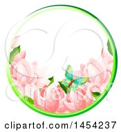Circular Frame Of Spring Flowers And A Butterfly