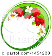 Clipart Graphic Of A Circular Frame Of Red Begonia And Daisy Flowers Royalty Free Vector Illustration