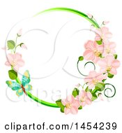 Clipart Graphic Of A Circular Frame Of Spring Orchid Flowers And A Butterfly Royalty Free Vector Illustration by Vector Tradition SM