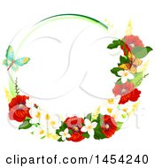 Clipart Graphic Of A Circular Frame Of Beautiful Red Poppies And Other Spring Flowers With Butterflies Royalty Free Vector Illustration by Vector Tradition SM