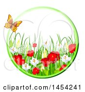 Clipart Graphic Of A Circular Frame Of Beautiful Red Poppies And Other Spring Flowers With A Butterfly Royalty Free Vector Illustration by Vector Tradition SM
