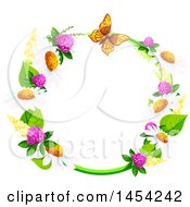 Clipart Graphic Of A Circular Frame Of Spring Flowers And A Butterfly Royalty Free Vector Illustration by Vector Tradition SM