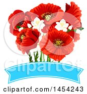Beautiful Red Poppies Over A Blank Banner