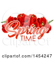 Red Poppies With Spring Time Text