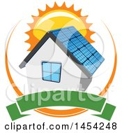 Clipart Graphic Of A House With A Solar Panel Roof Sun And Blank Banner Royalty Free Vector Illustration by Vector Tradition SM