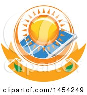 Clipart Graphic Of A Sun Ring Around A Solar Panel Over A Banner Royalty Free Vector Illustration