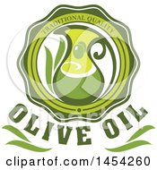 Green Olives And Oil Design With Text