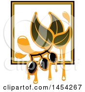 Clipart Graphic Of A Black Olives And Oil Design Royalty Free Vector Illustration