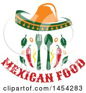 Mexican Food Design With A Sombrero Silverware And Peppers