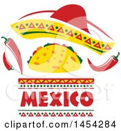 Mexican Food Design With A Sombrero Taco And Peppers