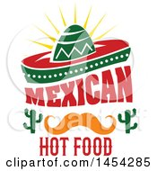 Clipart Graphic Of A Mexican Food Design With A Sombrero Mustach And Cactus Royalty Free Vector Illustration by Vector Tradition SM
