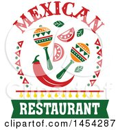 Clipart Graphic Of A Mexican Food Design With Maracas And A Pepper Royalty Free Vector Illustration by Vector Tradition SM