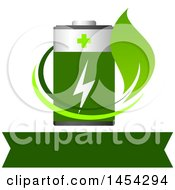 Clipart Graphic Of A Leaf Swoosh And Green Battery Over A Banner Royalty Free Vector Illustration