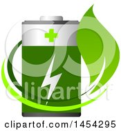 Clipart Graphic Of A Leaf Swoosh And Green Battery Royalty Free Vector Illustration