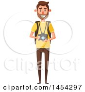 Clipart Graphic Of A Happy Male Tourist Holding A Camera Royalty Free Vector Illustration