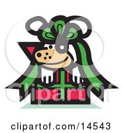 Cute Dog Tied Up In A Bow On A Christmas Present Clipart Illustration