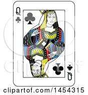 French Styled Queen Of Clubs Playing Card Design