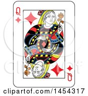 French Styled Queen Of Diamonds Playing Card Design