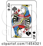 French Styled Queen Of Spades Playing Card Design
